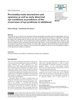 Personality traits neuroticism and openness as well as early